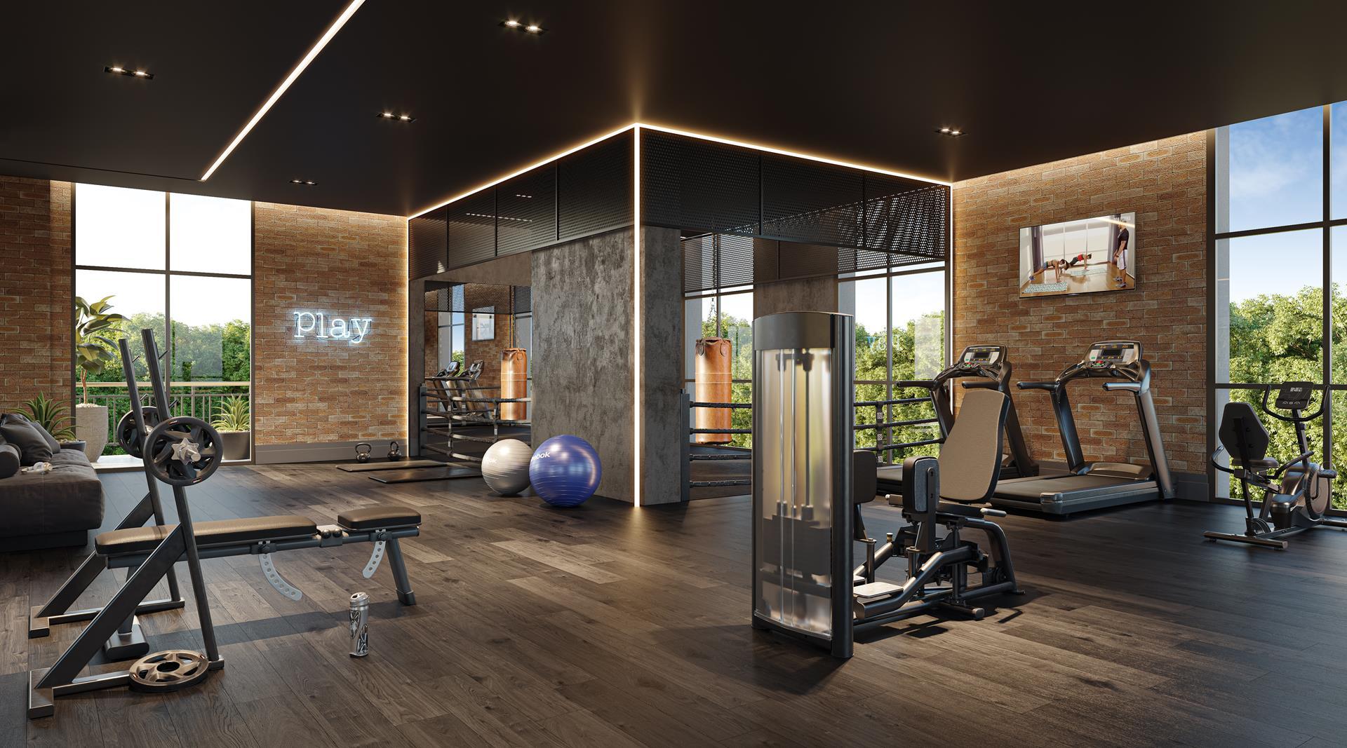 Fitness Center com espaço para lutas